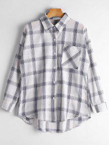 Button Up Longline Checked Pocket Shirt - Checked L