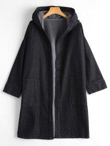 Drop Shoulder Pockets Hooded Denim Coat - Black