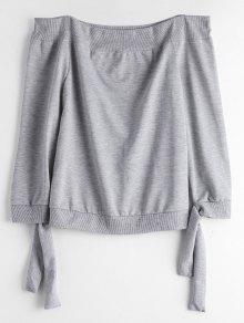 Off The Shoulder Self Tie Sweatshirt - Gray Xl