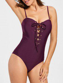 Lace Up One Piece Swimsuit - Burgundy L