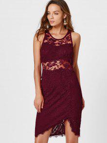Asymmetric Bodycon Lace Dress - Wine Red Xl