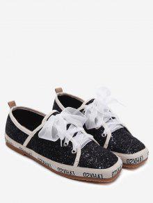 حذاء رياضي مزين بالترتر ذو شكل مربع عند الأصابع - أسود 38