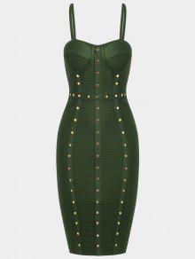 Embellished Cami Bandage Dress - Army Green S
