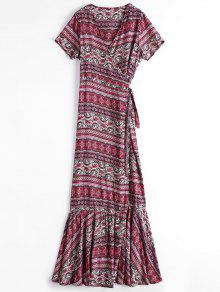 Printed Flounces Wrap Maxi Dress - Red