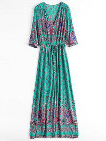 Printed Slit Button Up Maxi Dress - Light Green M