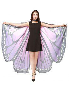 Chiffon Butterfly Strap Shape Wing Cape - Purple