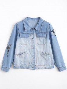Ombre Bird Embroidered Denim Jacket - Denim Blue S