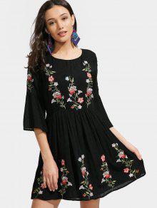Bordado Floral Bordado Una Línea Vestido - Negro S