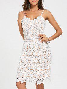فستان السهرة محبوك كامي دانتيل مصغر - أبيض S