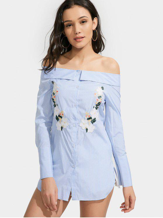 Vestido Camisero a Rayas Floral con Hombros al Aire - Azul Claro L