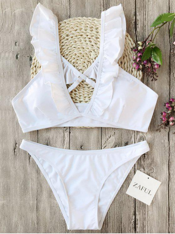 outfits Plunge Ruffles Cross Back Bikini Set - WHITE L