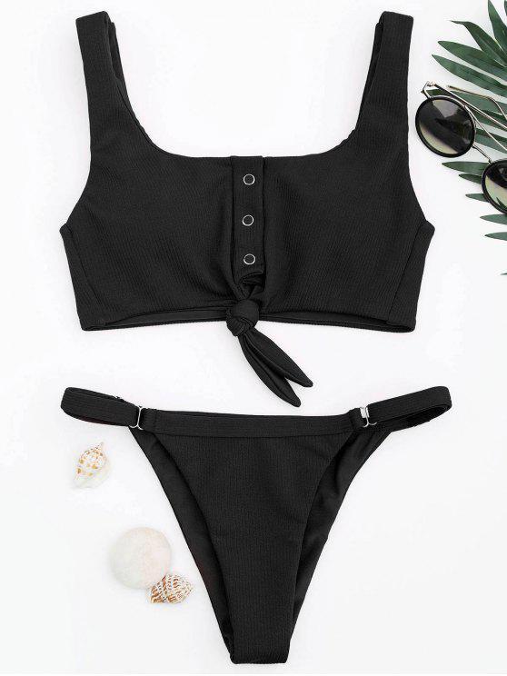 fancy Adjustable Textured Knot Bralette Bikini Set - BLACK M