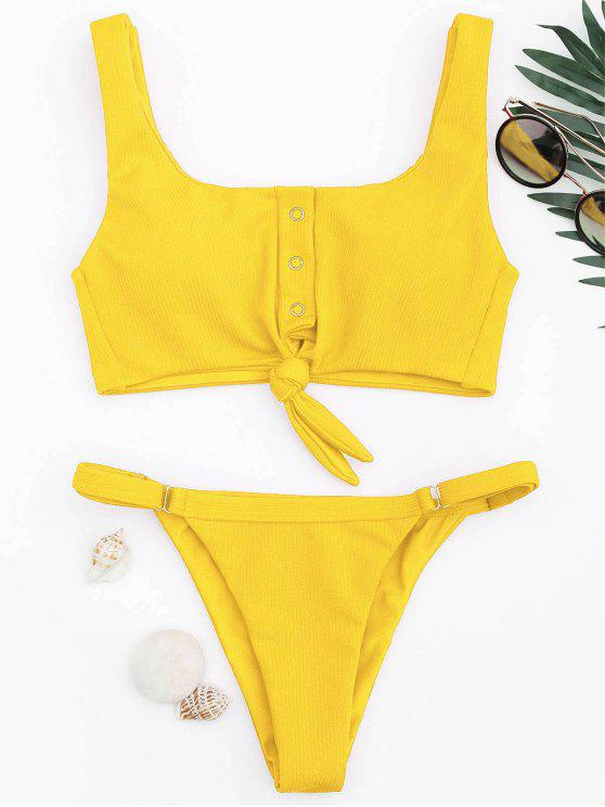 affordable Adjustable Textured Knot Bralette Bikini Set - YELLOW M