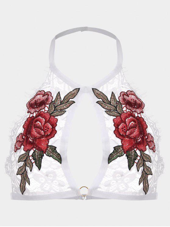 صدرية بدانتيل مزينة بأزهار - أبيض M