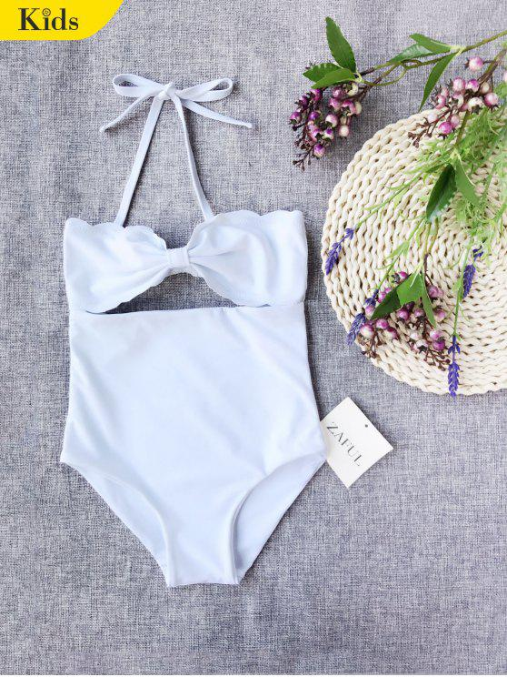 Cut Out Bowknot Halter Kid Swimwear - Branco 8T
