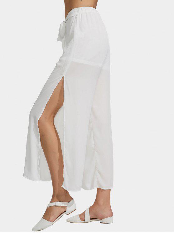 Chiffon Belted High Slit Wide Leg Pants - Branco S