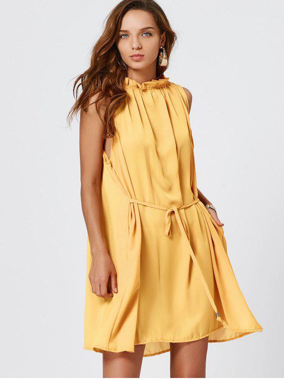 fashion Self Tie Ruffle Neck Chiffon Dress - YELLOW L
