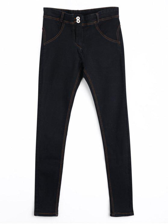 Skinny Double Buttoned Pencil Jeans - Noir XL