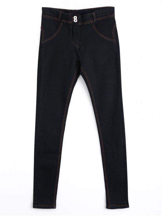 Skinny Double Buttoned Pencil Jeans - Preto XL