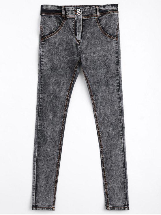Dünne Bleistift Jeans mit zwei Knöpfe - Grau M