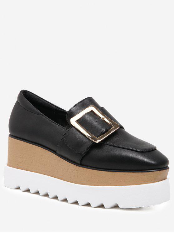 Zapatos cuadrados de la cuña de la hebilla de correa del dedo del pie - Negro 37