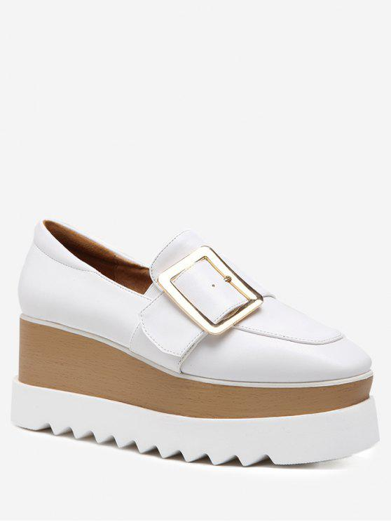 Square Toe Belt Buckle Wedge Shoes - Branco 38