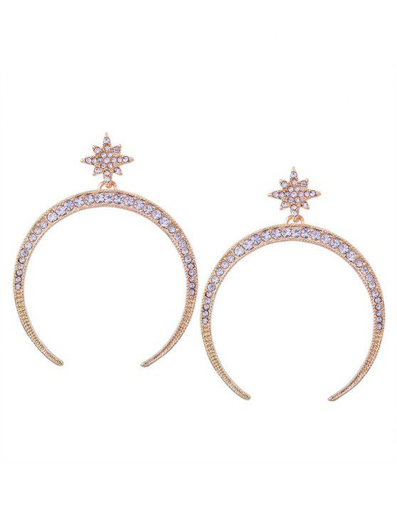 sale Statement Rhinestone Sun Moon Earrings - GOLDEN
