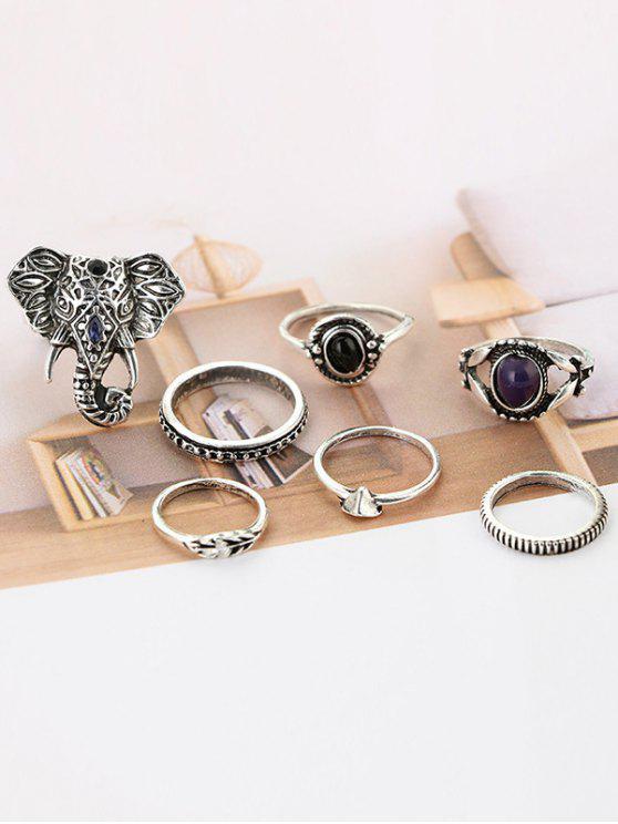 7 piezas Bohemia elefante anillos de ojo - Plata