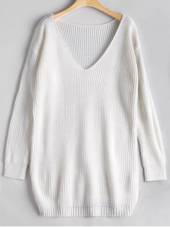 Suéter de gran tamaño con cuello en V - Blanco Única Talla