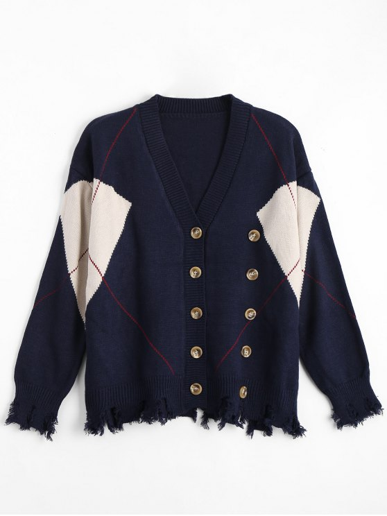 Plus Size Tazza afflitta in su Cardigan - Blu Violaceo Taglia unica