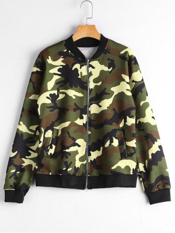 sale Zip Up Pockets Camouflage Jacket - CAMOUFLAGE M