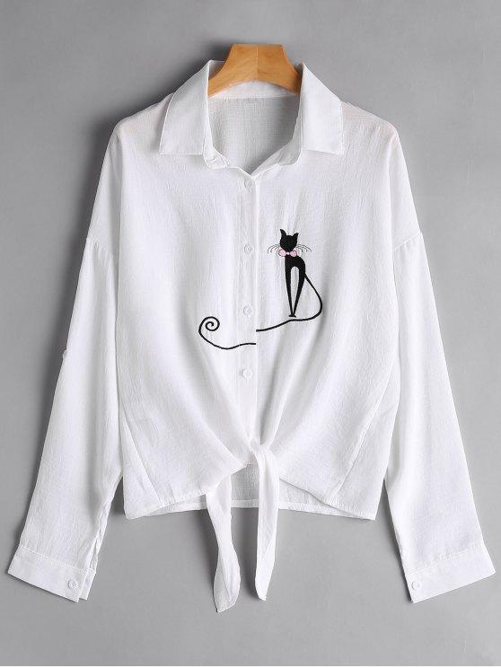 Chemise brodée à l'avant - Blanc XL