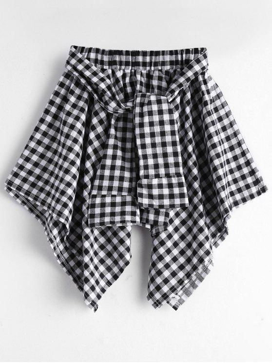new Self Tie Asymmetric Checked Skirt - BLACK ONE SIZE