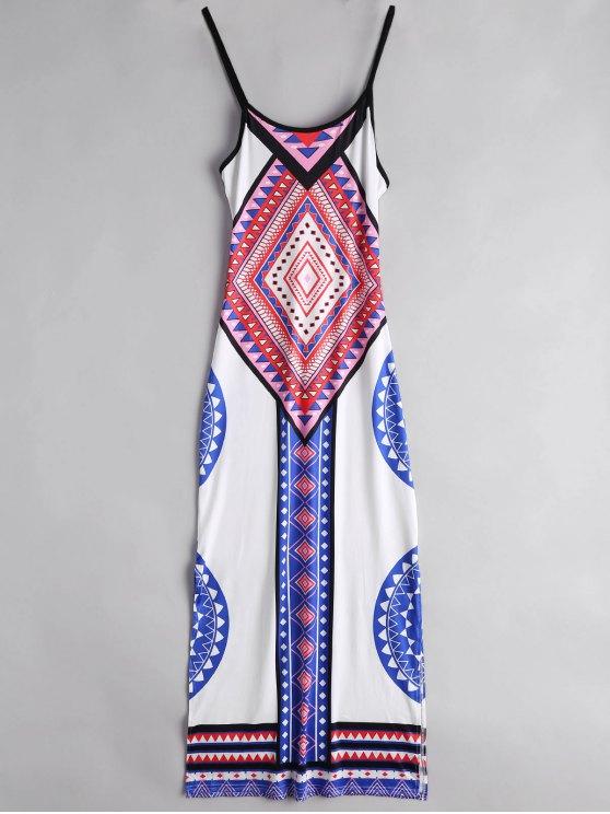 Argyle Side Slit Cami Maxi Kleid - Weiß XL