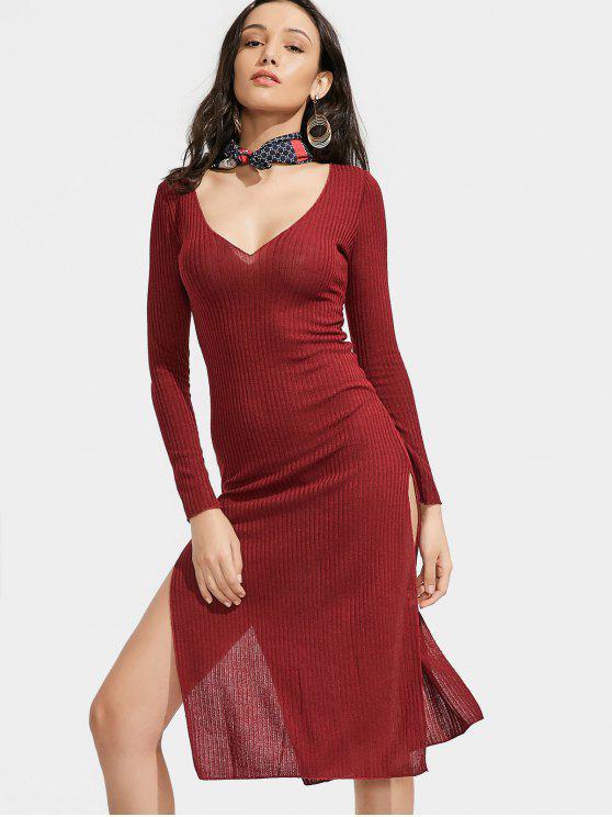 Long Sleeve Ribbed Slit Knitting Dress - Vinho vermelho M