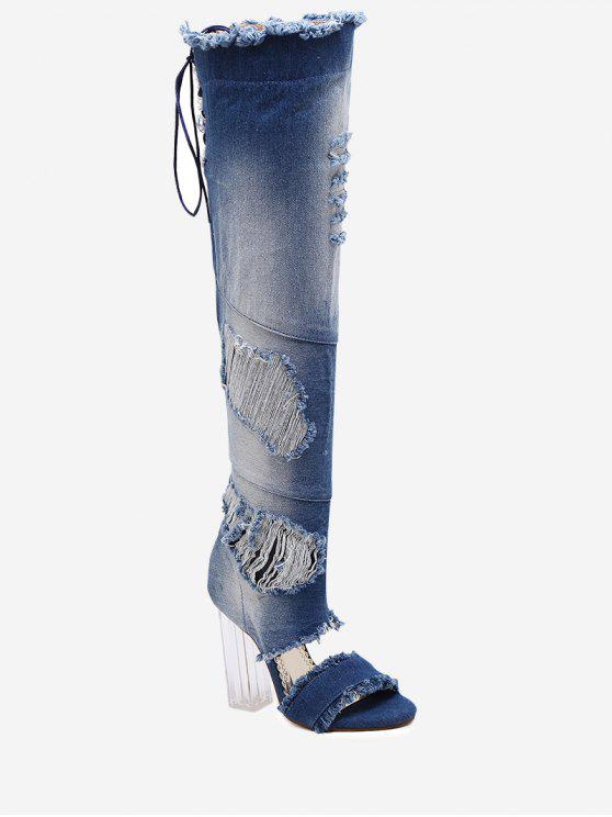 Denim Over The Knee Sandal Boots - Bleu 38