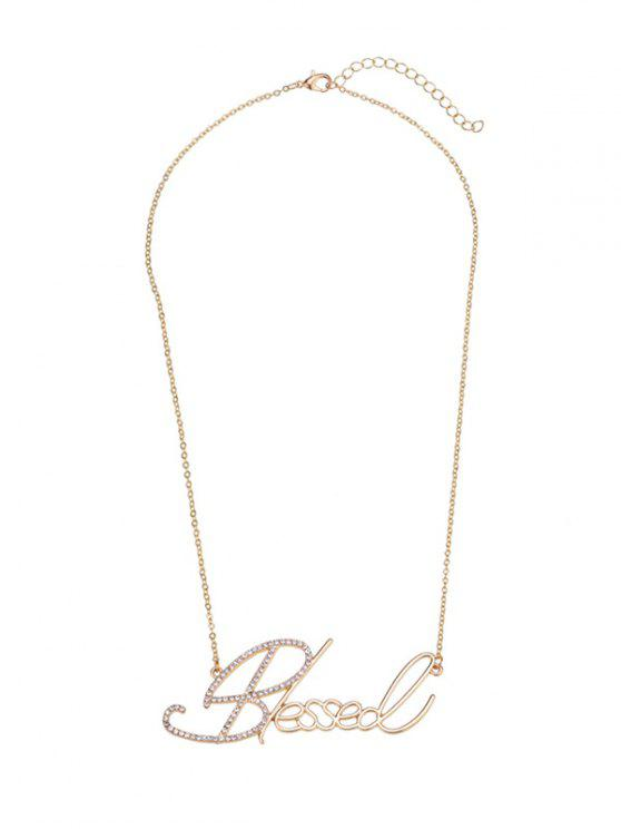new Rhinestone Blessed Nameplate Necklace - GOLDEN