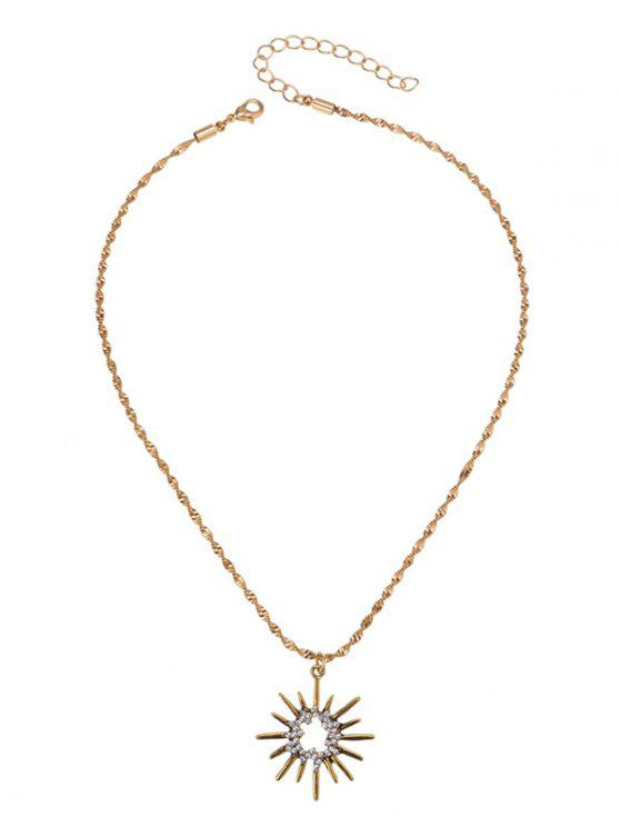 Rhinestoned Sun Pendant Necklace - Or