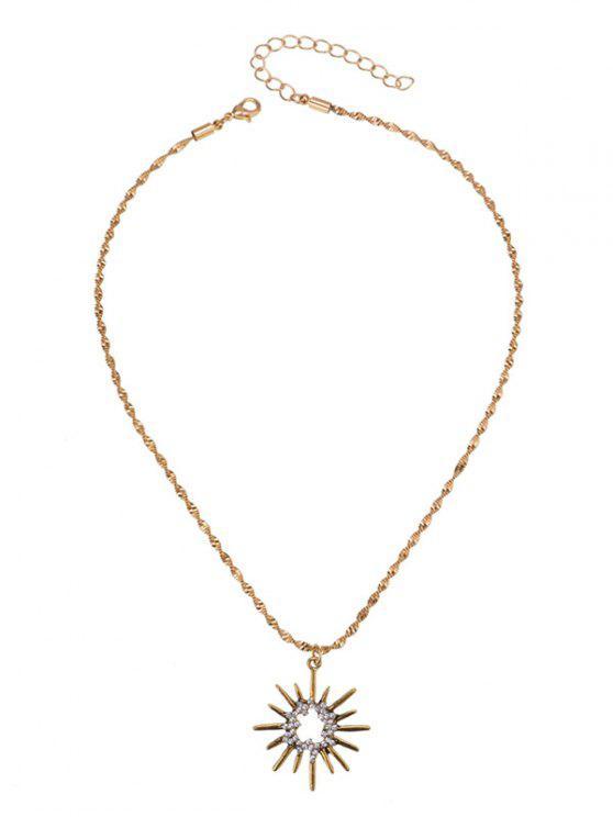 Rhinestoned Sun Anhänger Halskette - Golden
