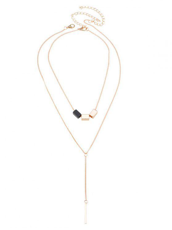 Geometrische Bar Kreis Anhänger Halskette Set - Golden