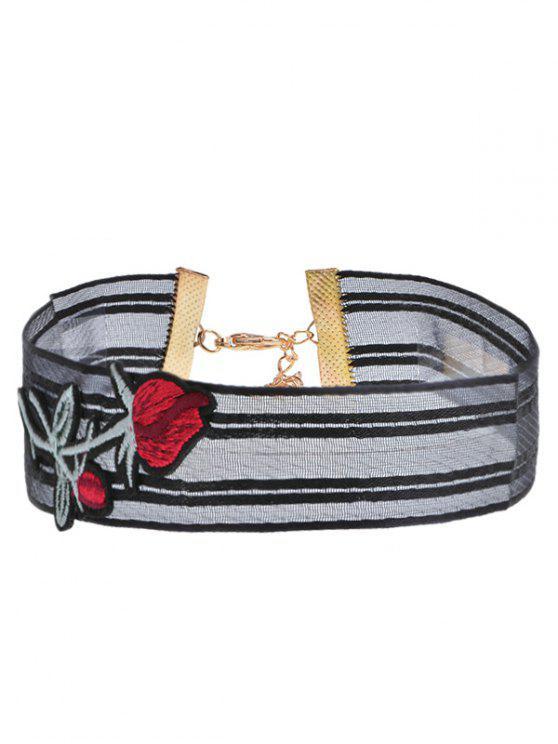Garn Blumenstickerei Choker Halskette - Schwarz