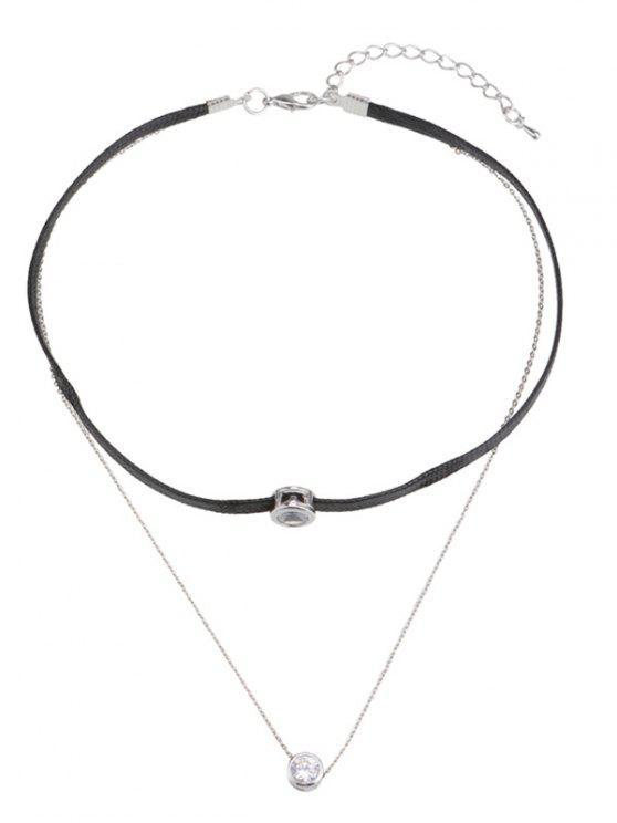 Collar de cuerda trenzado de strass - Plata