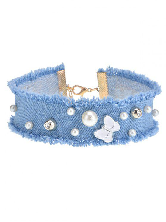 unique Faux Pearl Butterfly Choker Necklace - BLUE