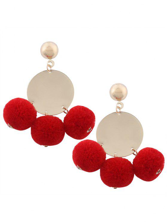 affordable Round Disc Fuzzy Ball Earrings - RED