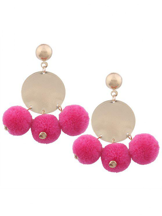 buy Round Disc Fuzzy Ball Earrings - ROSE RED
