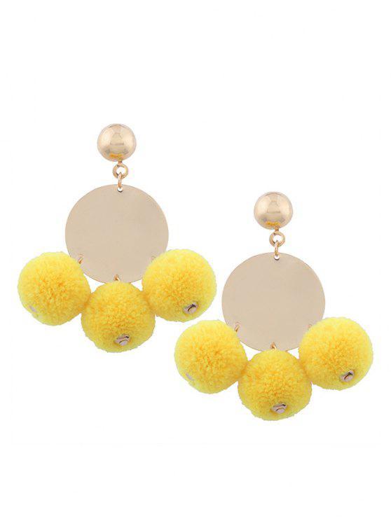 Scheibe Runde Pelziger Ball Ohrringe - Gelb