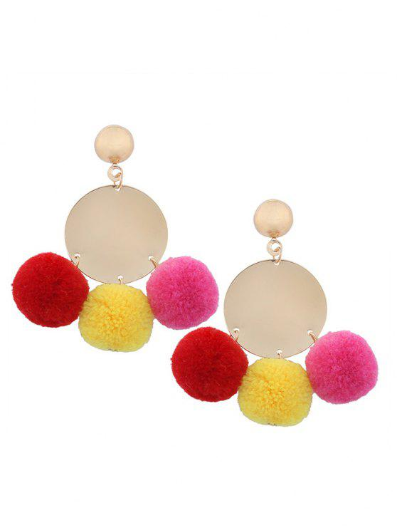 women Round Disc Fuzzy Ball Earrings - COLORMIX