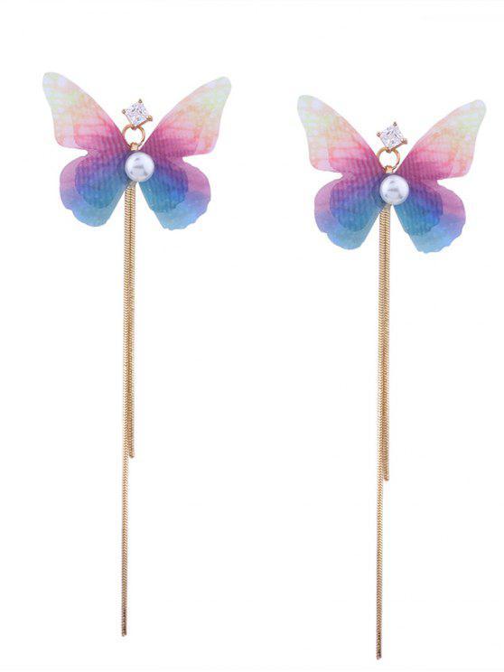 Strass gefranste Kette Farbverlauf Schmetterling Ohrringe - Golden