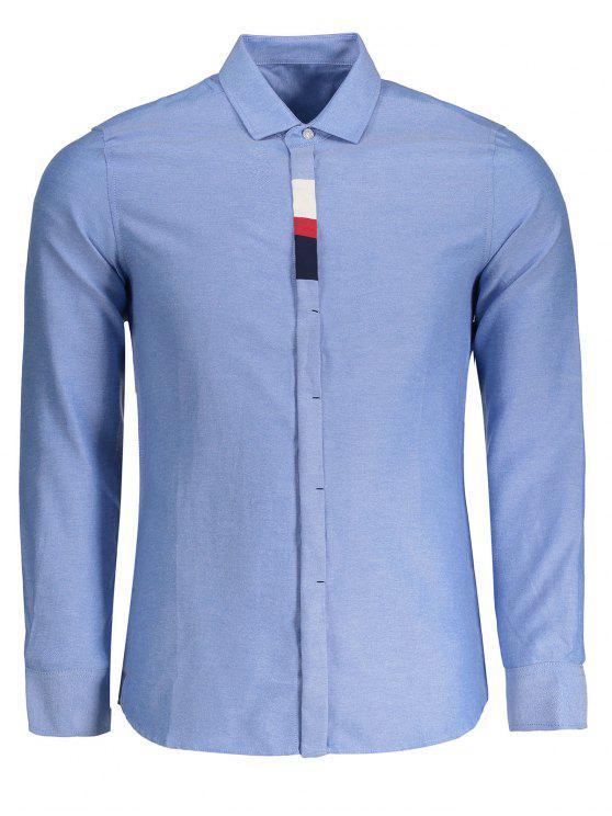 Chemise Homme à Boutons Détail - Bleu clair 4XL