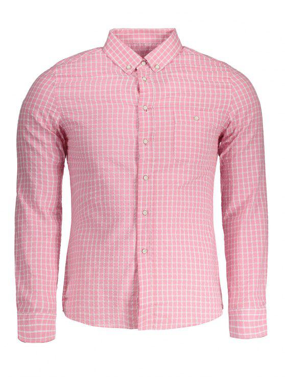 affordable Button Down Checked Shirt - PINK 3XL